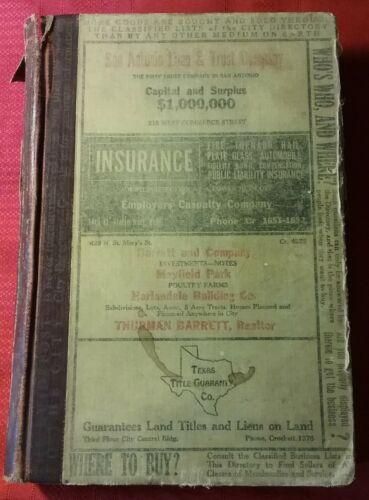 Original 1931-32 Worley's San Antonio Texas City Directory; Texas Artists +