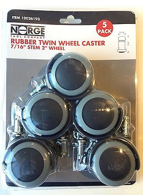 New Wheel Casters Twin Rubber Swivel 2 Wheel 66lbs Per Caster 5-pack Norge 93