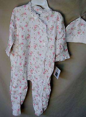LITTLE ME 100% Cotton White Footie w/Vintage Rose Print w/Hat GIRL SIZES  NWT