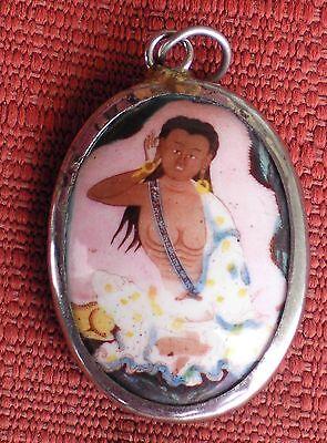 Tibetan Deity Pendant Enamel & Metal MILAREPA