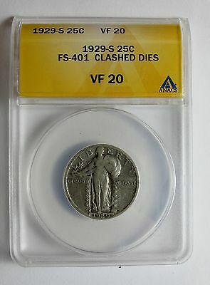 1929 S STANDING LIBERTY QUARTER  FS 401 DIE CLASHED OBVERSE E ERROR ONLY 4 KNOWN