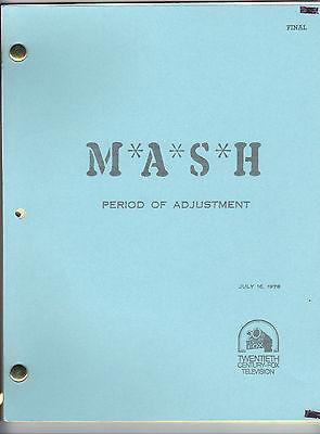 """M*A*S*H TV script """"Period Of Adjustment"""""""