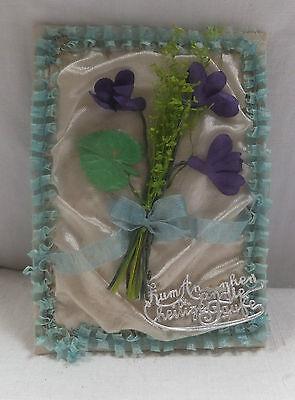 alter Taufbrief Blumen Schriftzug Andenken an die hl. Taufe um 1900