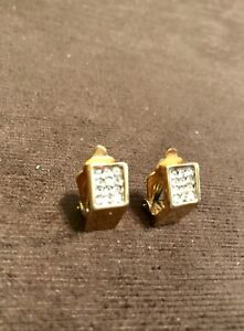 Diamond/Gold Clip-On Earings