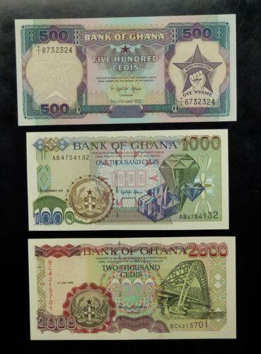 1992, 96 & 99 Bank of GHANA 3 NOTES 500 1000 & 2000 CEDIS P28a P32a & P32d UNCS