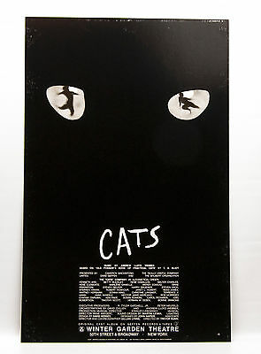 Vintage CATS original Broadway 1982 Musical Window Card Poster