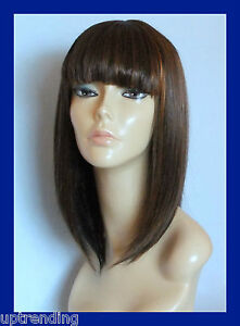 HIGH HEAT RESISTANT LADY GAGA FRINGE WIG OFF BLACK & MEDIUM AUBURN 1B/30# T-004