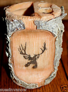 Decorator bathroom decor log cabin deer white birch nature accent buck