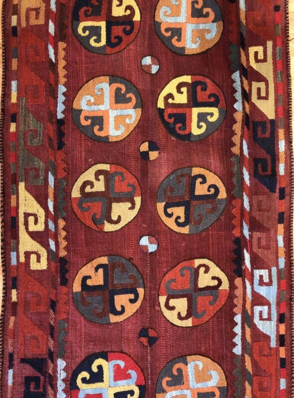 Spectacular Shyrdak - 1940s Antique Kyrgyz Rug - Nomadic Runner - 2.10 X 7.9 Ft.