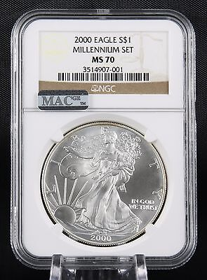 Click now to see the BUY IT NOW Price! 2000 SILVER EAGLE MILLENNIUM SET NGC MS 70 MAC