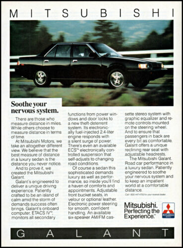 1986 Mitsubishi Galant Road Car Luxury Sedan 4 door retro photo print ad ads52
