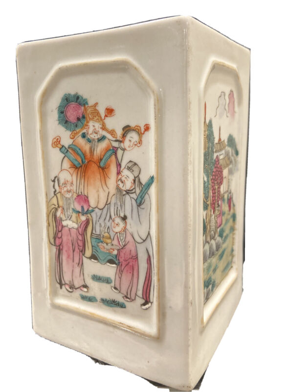 Antique Chinese Famille Rose Porcelain Brush Holder Four Cartouche Panels