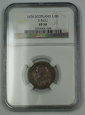 Click now to see the BUY IT NOW Price! 1676 SCOTLAND 1/8 DOLLAR SILVER COIN S-5622 CHARLES II NGC VF-30 AKR