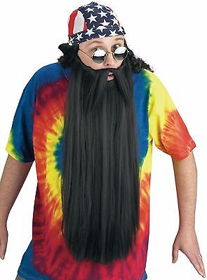 Extra Long Beard With Attached Mustache Adult Costume Accessory, One Size, Black - Costume For Men With Beards