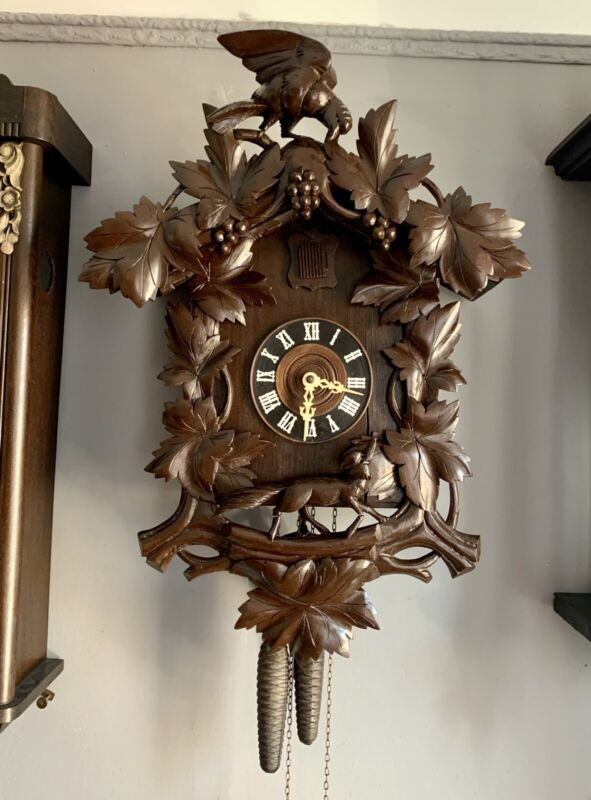 Large antique Cuckoo Clock Fox, Raven and Grapes