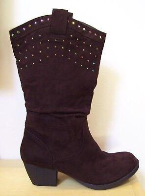 Girls Union Bay Janson G Brown Rhinestone Cowboy Boots Sz 2 or 3 New