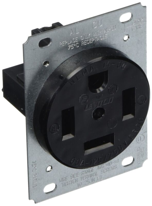 Leviton 9460 60 Amp, 125/250 Volt, Flush Mounting, Receptacle, Straight Blade