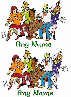SCOOBY DOO GANG PERSONALISED IRON ON TRANSFER X 2 FOR WHITE/LIGHT COTTON