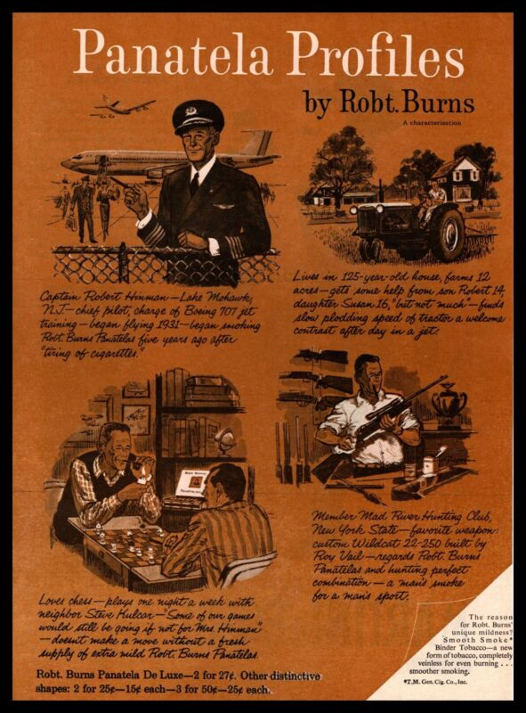 1959 Panteal De Luxe Cigars Boeing 707 Jet Pilot Chess Board Vintage Print Ad