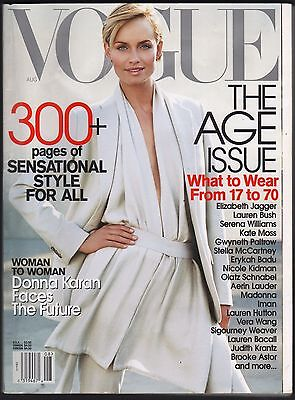 August 2001 Vogue Magazine Amber Valletta  Donna Karan  Sigourney Weaver