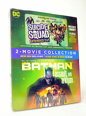 2 Movie  Batman Assault On Arkham Blu Ray   Suicide Squad Digital Hd Vudu   New