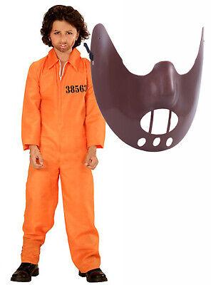Boys Jail Boiler Suit Prison Convict Kids Halloween Fancy Dress Costume + Mask - Childs Boiler Suit