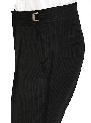 Adjustable Tuxedo - Men's Black Pinstriped Calvin Klein Adjustable Waist 100% Wool Tuxedo Pants