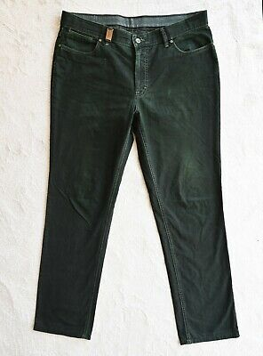 Mens HILTL Chinos Dark Green Casual Business Trousers Straight leg Size W36 L32