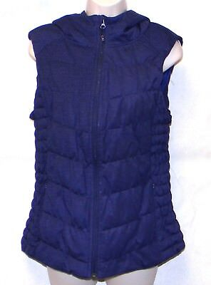 Women's Be By Blanc Noir Blue Hooded Zipper Puffer/Vest Size L](blanc noir puffer vest)