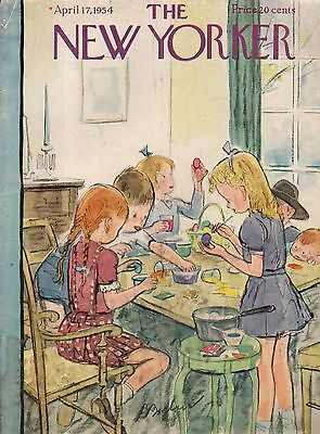1954 New Yorker April 17  Easter Egg Coloring Party