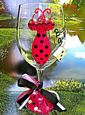 Bunco Queen Hand Painted Wine Glass Gift Party Game Night Dice Prize Winner