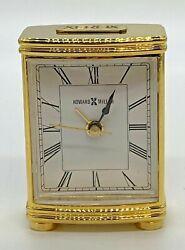 Vtg Xerox Gift Howard Miller Miniature Quartz Brass Desk Alarm Clock Works