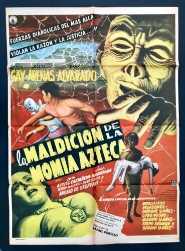 MALDICION DE LA MOMIA AZTECA  Original Mexican Movie Poster 1957 EXC