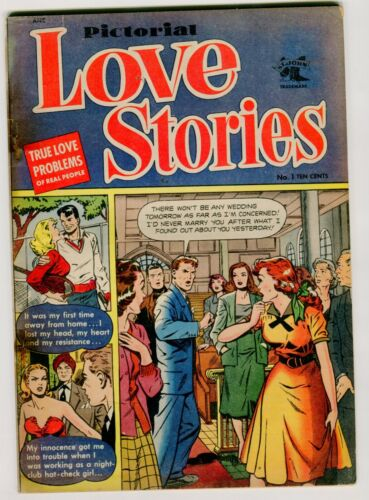 PICTORIAL LOVE STORIES #1  GD- ow/w  Baker cover.