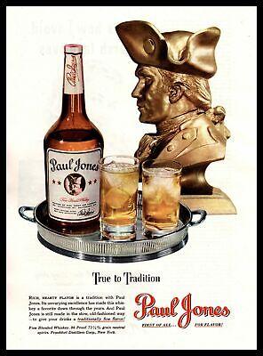 1948 Paul Jones 86 Proof Fine Blended Whiskey Bottle Tray Bust Vintage Print Ad