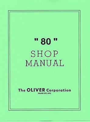 Oliver 80 Row Crop Standard Shop Dealer Service Manual