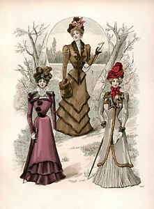Victorian-Edwardian-Ladies-Dress-Design-Fashion-Colour-Reproduction-Prints-NEW