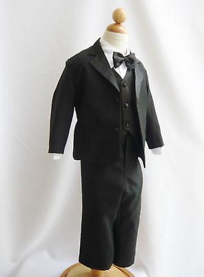 Boys Christmas Suits (BOYS Black Tuxedo suit Satin trim wedding Christmas Holiday Bow tie vest)