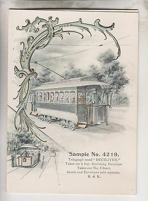 VINTAGE B & K GREETING CARD SAMPLE No.4219 - ELECTRIC TROLLEY
