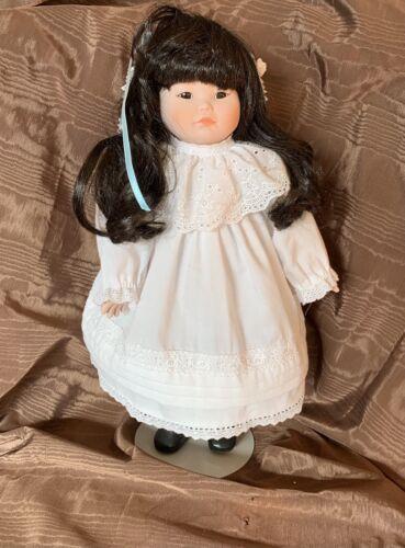 Amber Stone Porcelain Doll 16 Native American Hawaiian,limited Edition 2929 - $8.00