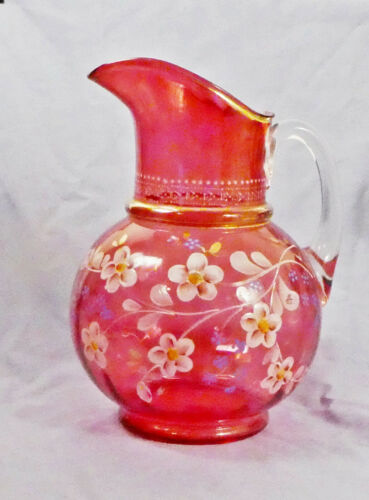 "LARGE 10"" VICTORIAN CRANBERRY GLASS PITCHER WITH HANDPAINTED FLOWERS"