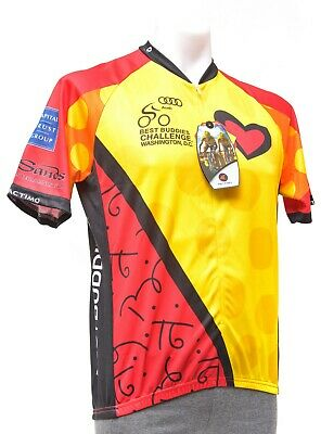 Pactimo Best Buddies Club Fit Short Sleeve Cycling Jersey LARGE Yellow Road