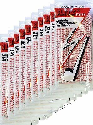 10 x 80 BLITZ Pfeifenreiniger konisch rot-weiß SWISS-MADE Pipe-Cleaner