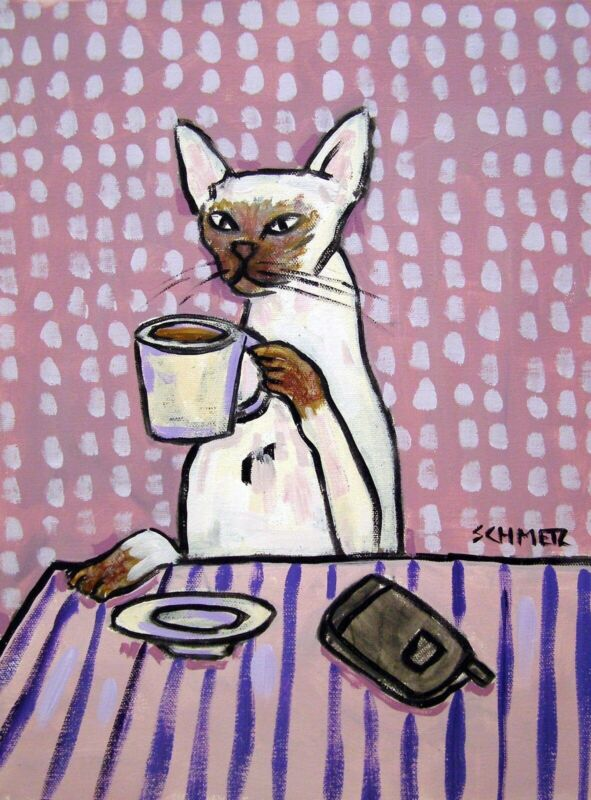 SIAMESE CAT coffee 8x10  art print animals impressionism artist