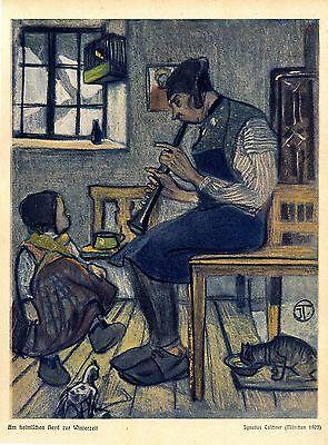 Am heimischen Herd mit Kind und Katze von Ignatius Taschner Kunstdruck von 1906