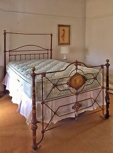 Beautiful Antique circa 1886 iron and brass double bed Birchgrove Leichhardt Area Preview