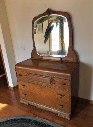 Vintage Art Deco Waterfall 3 Drawer Vanity Dresser,  Beautiful