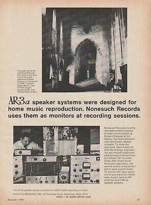 Acoustic Research - AR -3a Speaker - Original Magazine AD - 1969