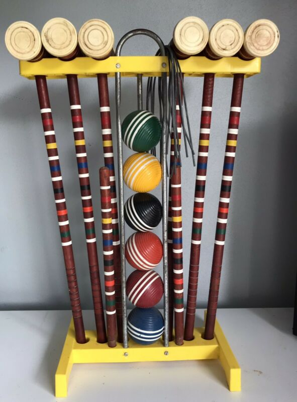 Vintage Forster? Rare Yellow Croquet Set-Nice Condition-Complete 6 Player Set