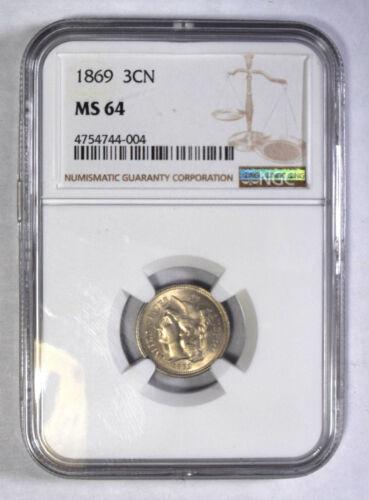 1869 Nickel Three Cent Piece NGC MS-64